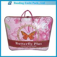 recycle waterproof printing plastic zipper bag with handle for blanket package