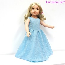 Fashion American Girls Doll with Blue Dress, Lovely Vinyl Princess Doll Toys for Children