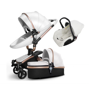 premium new style baby pram 3 in 1 and 2 in 1 baby stroller leather baby stroller