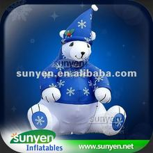 Inflatable Lower Christmas Bear with Decoration