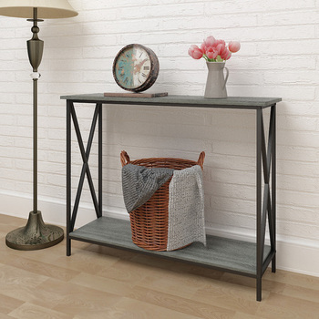 modern wall cheap console table with metal cross frame design