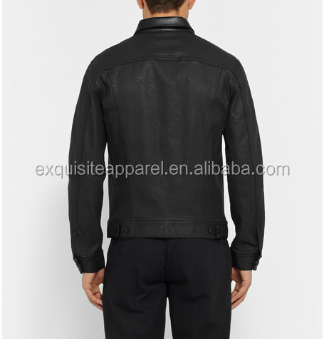 Custom Wholesale Mens Black Denim Jacket Oversized Black Jeans