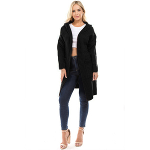 Knitwear Sweater Manufacturer Quality Black Women's Plus Size Pockets Long Sweater Cardigan Hoodies With Hood And Button