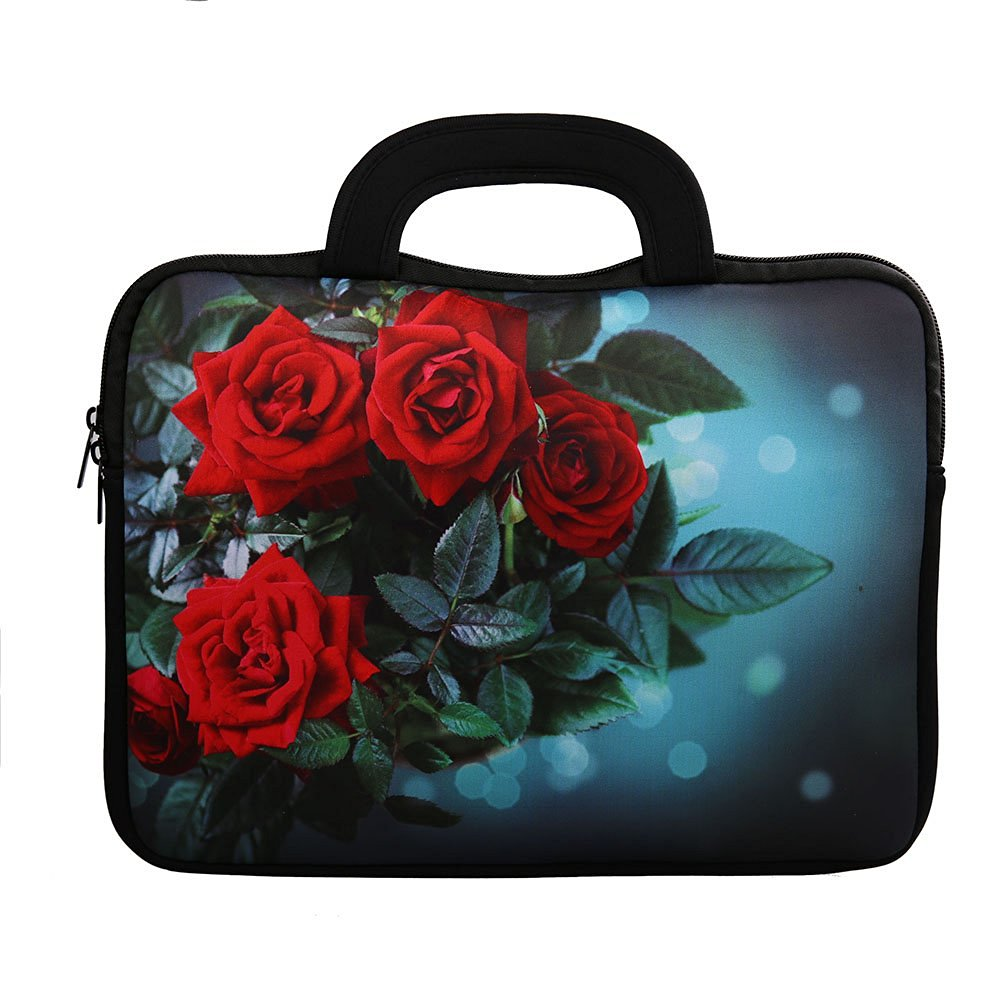 E - Living 7-8.4 Inch / 8.9-9 Inch / 10.1 Inch / 11.6-12.5 Inch / 13-13.3 Inch / 14-14.1 Inch / 15-15.6 Inch Neoprene Sleeve / Case / Bag / Cover with Handle (Roses, 13 - 13.3 Inch)