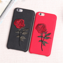 Funny Hand Embroidery Rose Flower Hard Coque Cover Case for IPhone 7 Cute Unique Phone Capa Housing Cover for iphone 7 Plus
