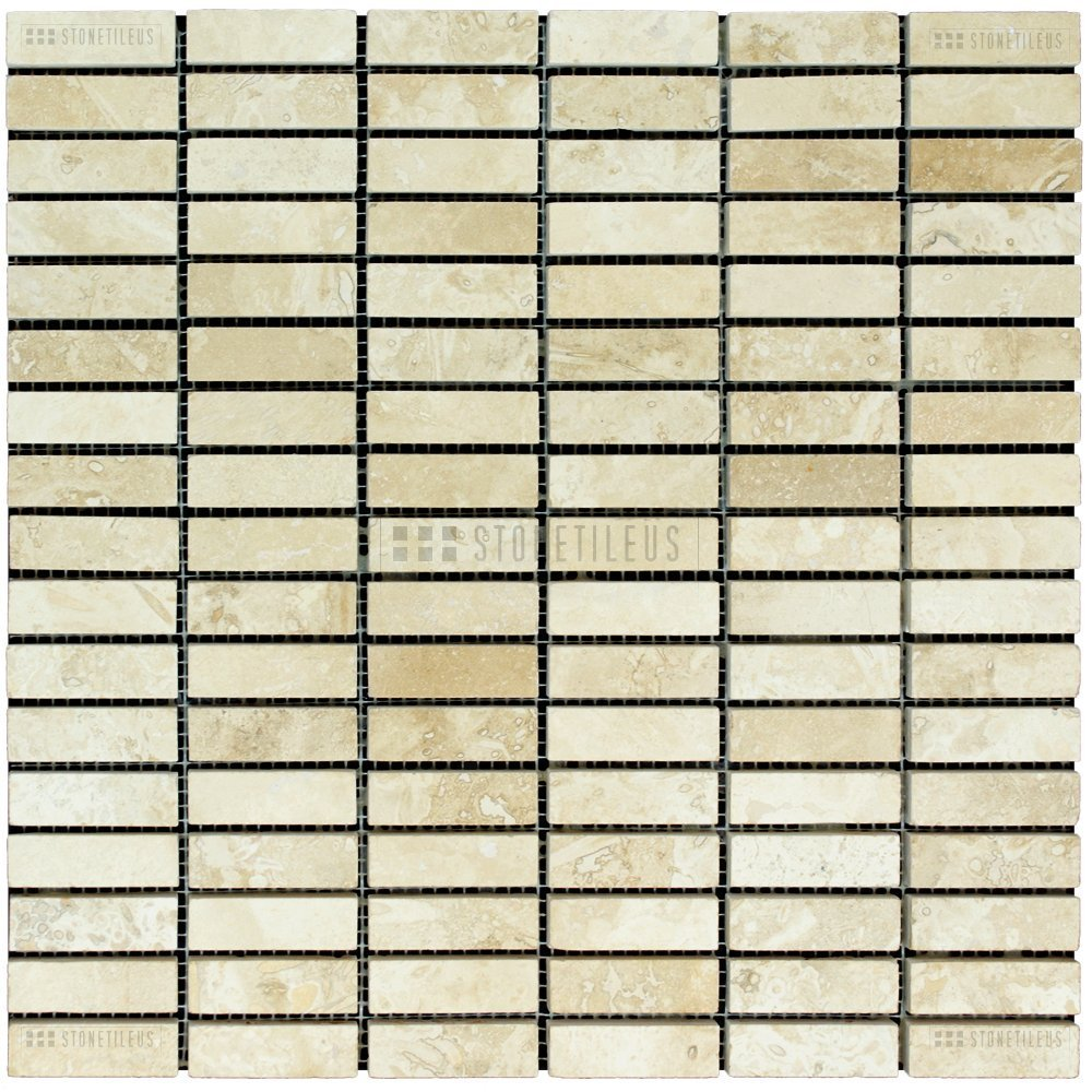 White Brick Honed and Filled Travertine Mosaic Tiles -5 sets to a box per single order