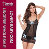 Seductive Clothing Black Mesh Sheer Lace and Blue Ribbon Baby Dolls Sexy Lingerie Fashion Women Lingerie