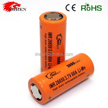 High quality!!! IMREN 26650 3600mah 60a rechargeable 3.7V battery for 26650 Brick House BOX mod