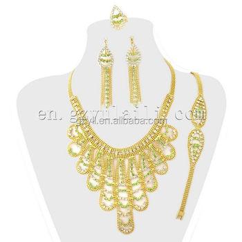 Vivid China Made Jewelry Set Beautiful Design Italian Gold Jewelry