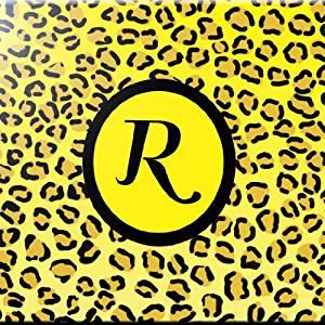 Rikki Knight Letter W Yellow Monogram Damask Bow Design Ceramic Art Tile 4 by 4