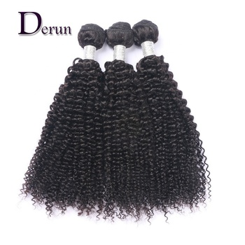Derun hair 9A 10A Grade mink raw unprocessed brazilian kinky curly remi hair weave