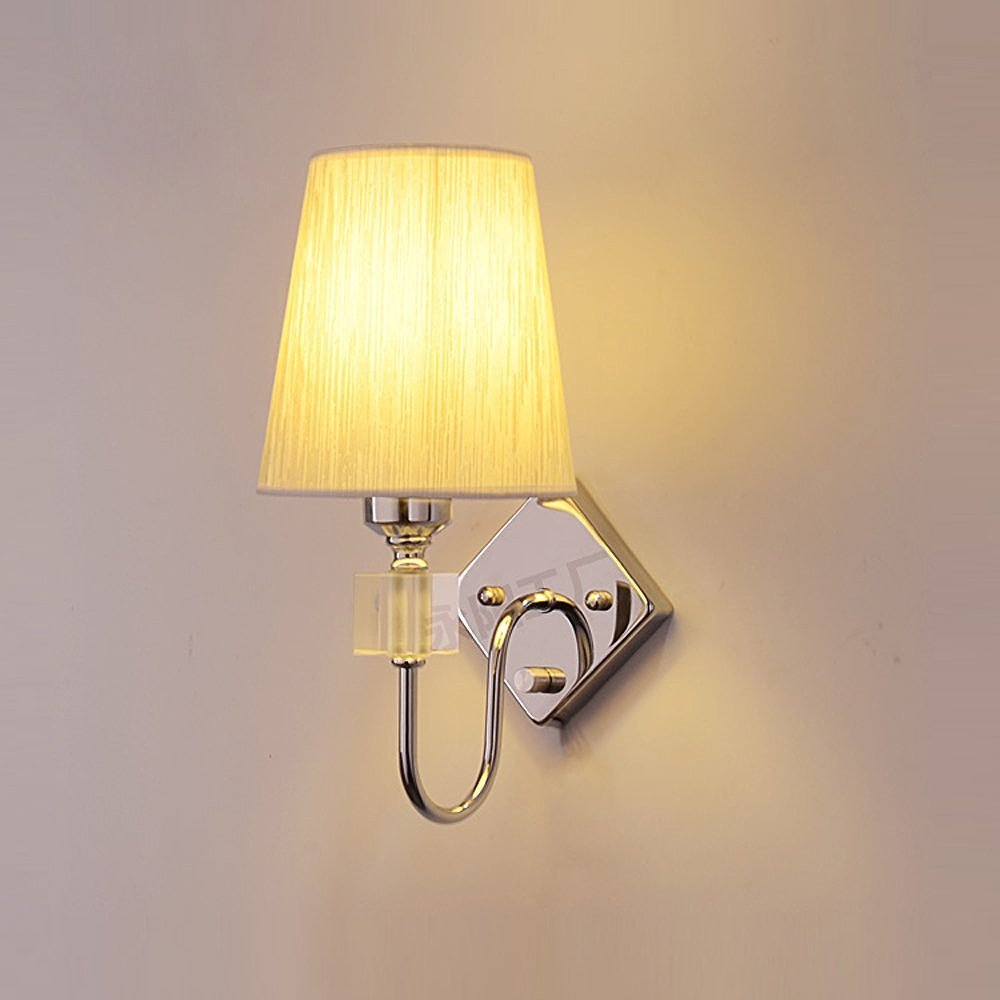 CHXDD Modern Fabric Crystal Corridor Wall Lamp Polished chrome Uplights Bedroom Bedsides Wall Light Balcony Wall Lighting Fixtures