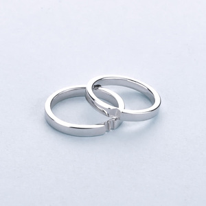 Valentine Day White Gold Matting 925 Silver Heart Ring Sets