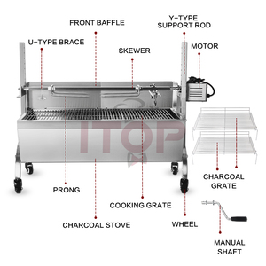 Outdoor stainless steel hog lamb charcoal barbeque bbq rotisserie spit  roaster with 100kg electric motor grill