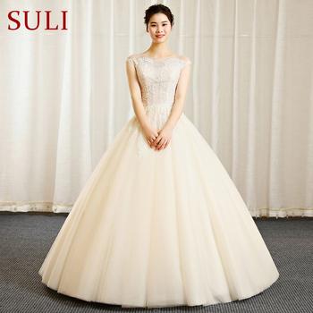 Suli Wedding Gowns Sl-326 Lace Short Sleeve Wedding Dress Bride ...