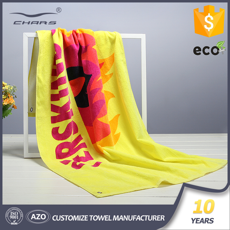 High absorbent Knitted -fabric Technic 60*120cm 350GSM reactive printed logo cotton custom sport towel with 1 Year warranty