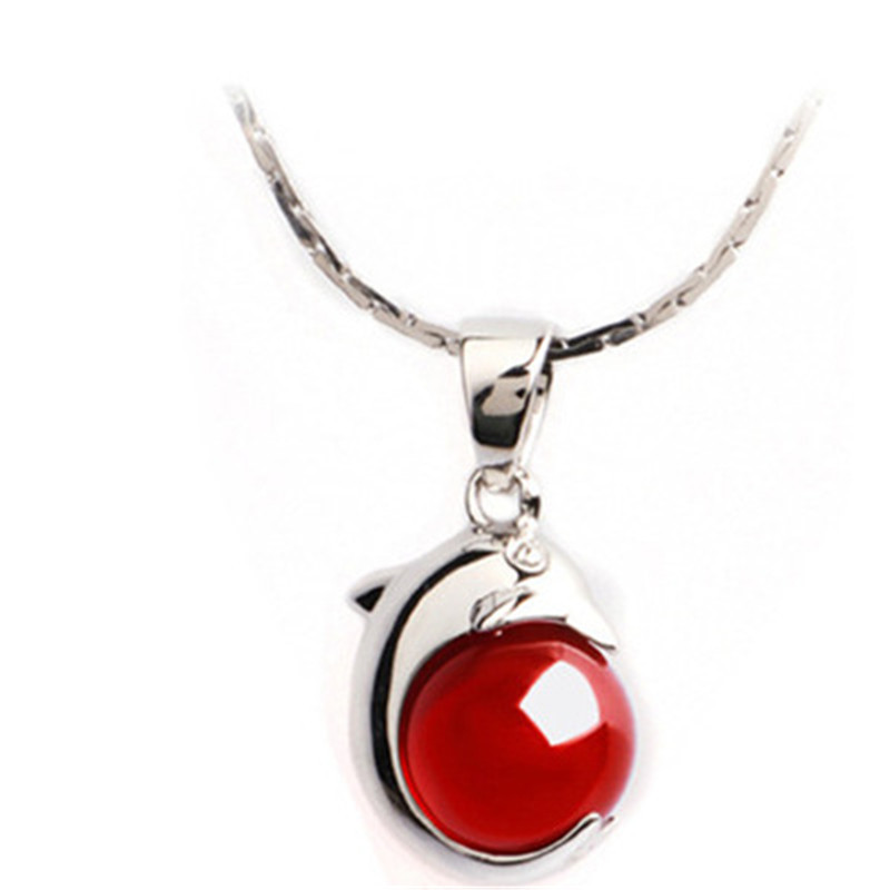 Women Genuine Silver Jewelry Fashion 925 Sterling Silver Red Natrual Stone Dolphin Pendant Necklaces