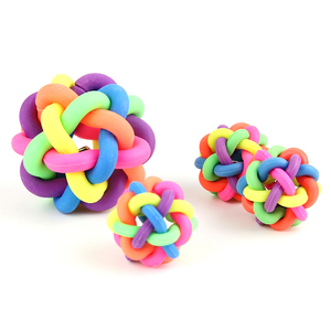 colorful pet toy/rubber ball/Knit ball with bell