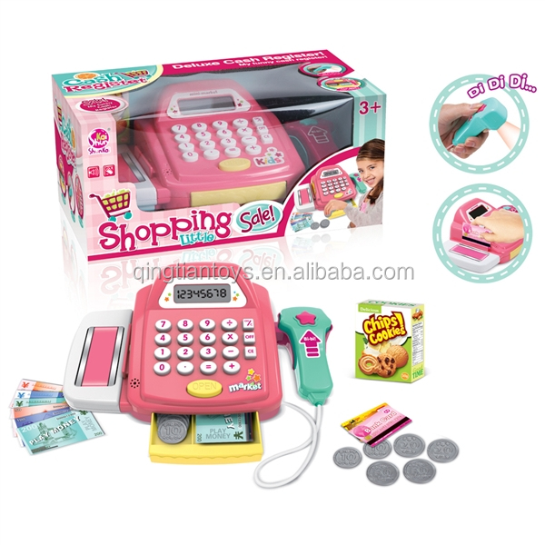 Christmas educational cashier play set for kids , electronic cashier toy with light