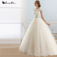 Princess Vintage Ball Gown Lace Wedding Dress Vernassa Crystal Sash Best Selling font b Vestido b