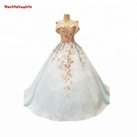 Hot selling led lighting blue dresses sexy backless lace applique bridal gown