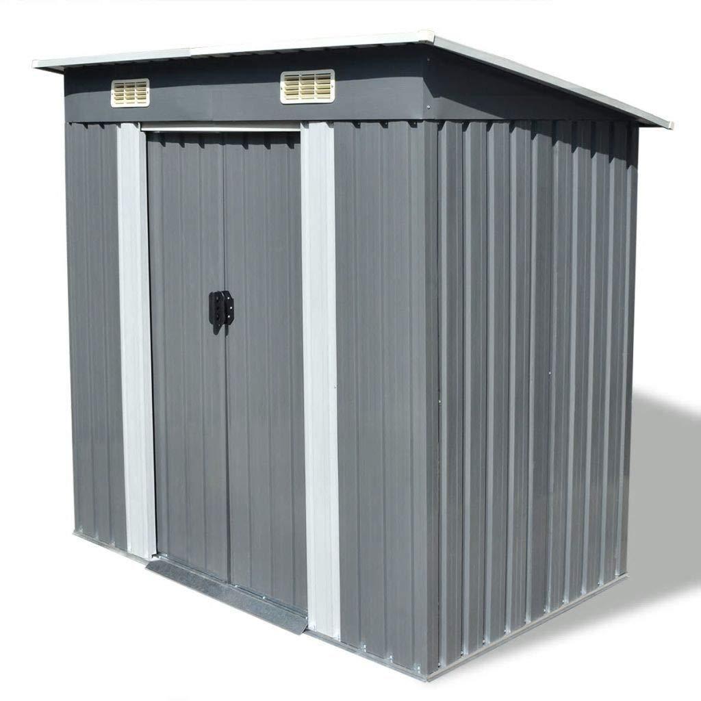 "Garden Patio Outdoor Metal Storage Unit Shed - 74.8"" x 48.8"" x 71.3"" - Gray"