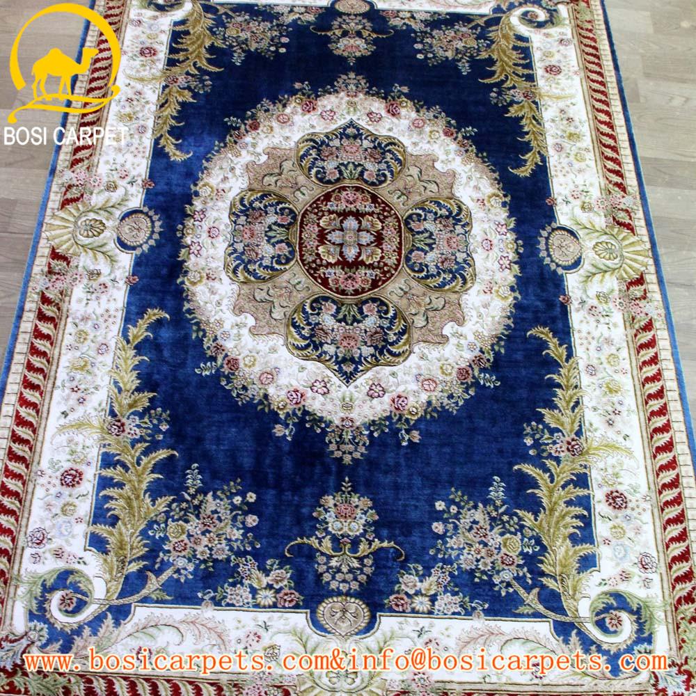 4x6ft fonc bleu exquis conception la main main knottd turc tapis de soie tapis turquie - Tapis Turc