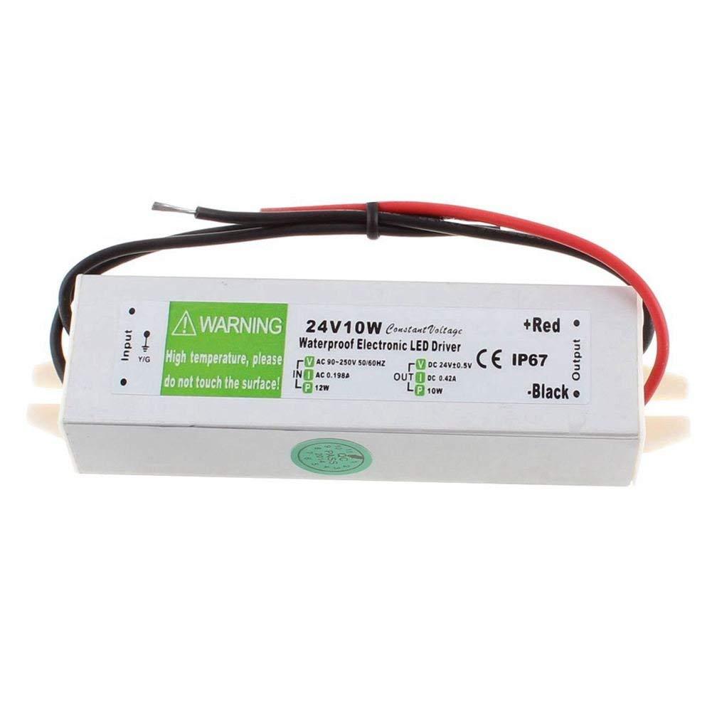 SODIAL(R) AC 90~250V to DC24V 10 Watt Transformer IP67 Waterproof LED Driver Power Supply