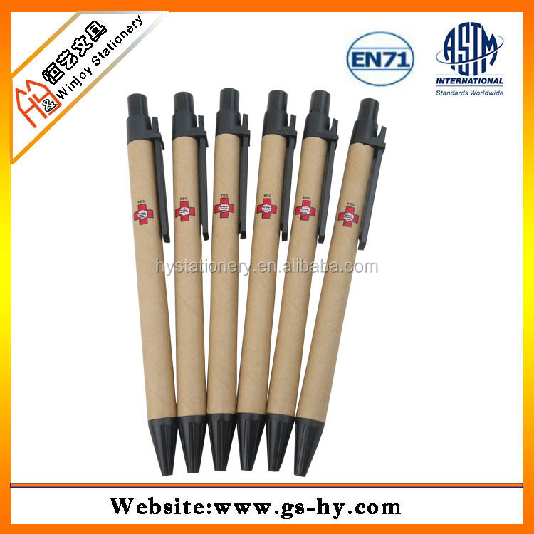 Promotional 14cm eco-friendly recycle kraft paper ball point <strong>pen</strong>