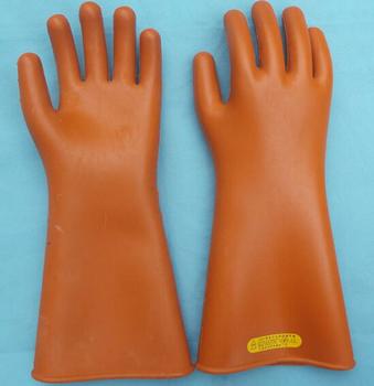 25kv Natural Rubber Orange Color Dielectric Safety Gloves