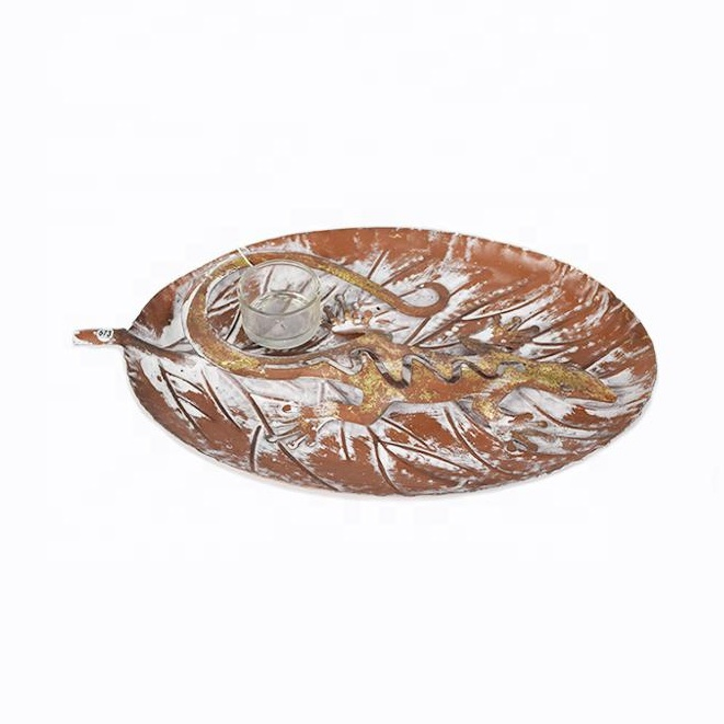 1 Glass Cup Gold Red Lizard Leaf Plate Table Stand Home Office Room Decorative metal candle holder