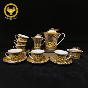 Hot selling unbreakable custom printed tea set ceramic royal bone china tea and turkish coffee set