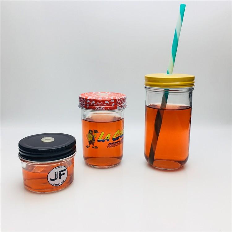 cheap custom empty 4oz 8oz canning caviar jam jar glass mason jar with lid