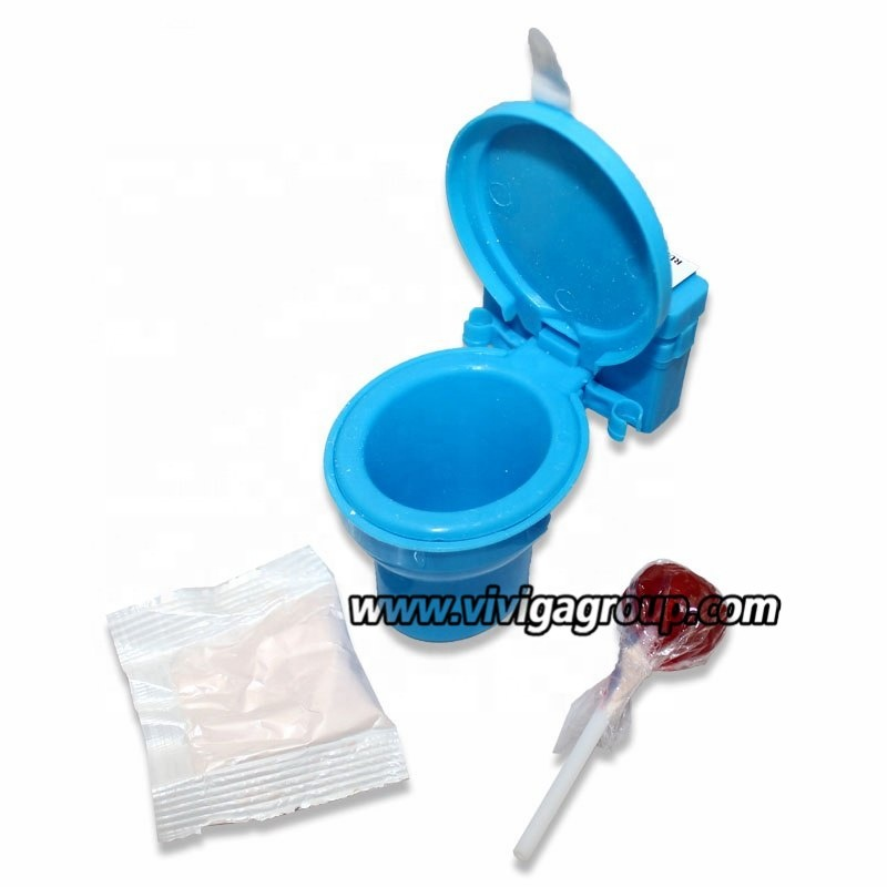 fancy Toilet shaped toy with fruit sour powder with lollipop candy