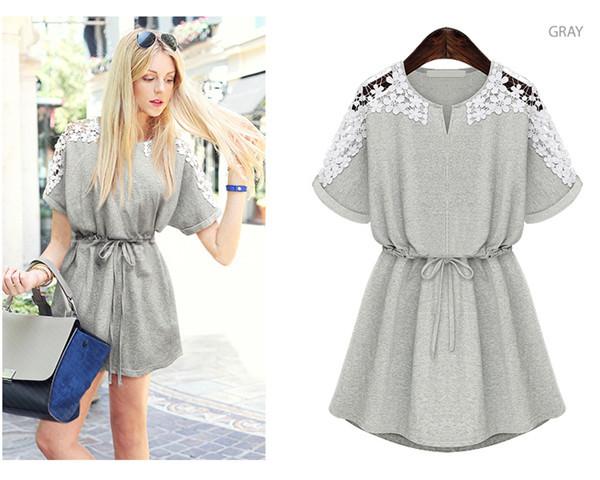 8106c4d0ea2 Get Quotations · S-XXL Plus Size Cotton Casual Dress Hollow Out Lace  Vestidos Mini Solid Short Women
