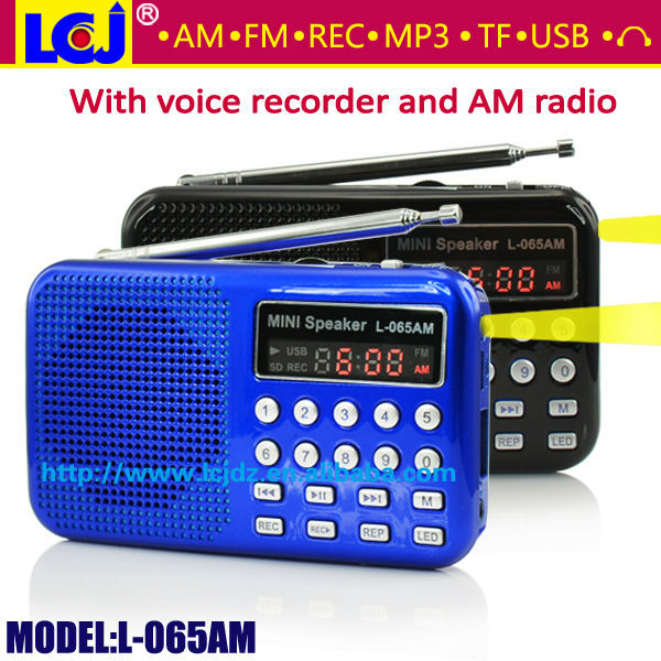 L-065AM 2018 mp3 player AM FM rádio gravador de voz, multifuncional gravador de voz digital