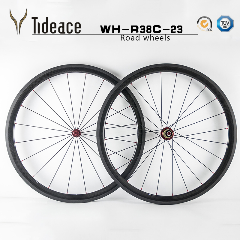 2018 Chinese 700C 38mm clincher 23mm width road wheels Basalt brake carbon fiber road bicycle wheelset