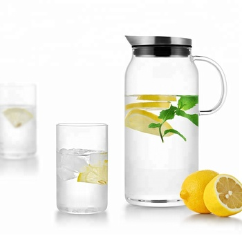 45 Oz Samadoyo Glass Water Filter Pitcher With Stainless Steel Lid