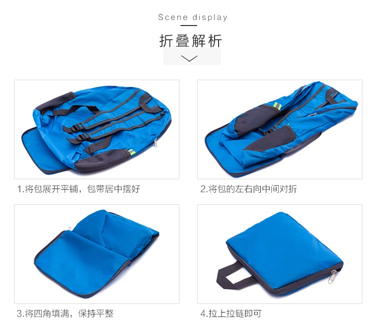 Custom Outdoor  Nylon Lightweight Waterpoof Travel foldable Backpack bag