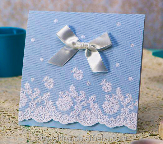 Art Craft Lace Wedding Greeting Cards With Ribbon Buy High Quality