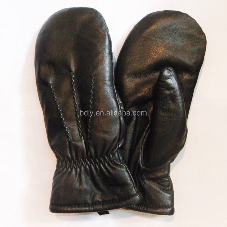 Wholesale cheap lambwool lined leather mittens gloves