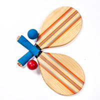 Beach Frescobol Wooden Paddle Racket Ball Set