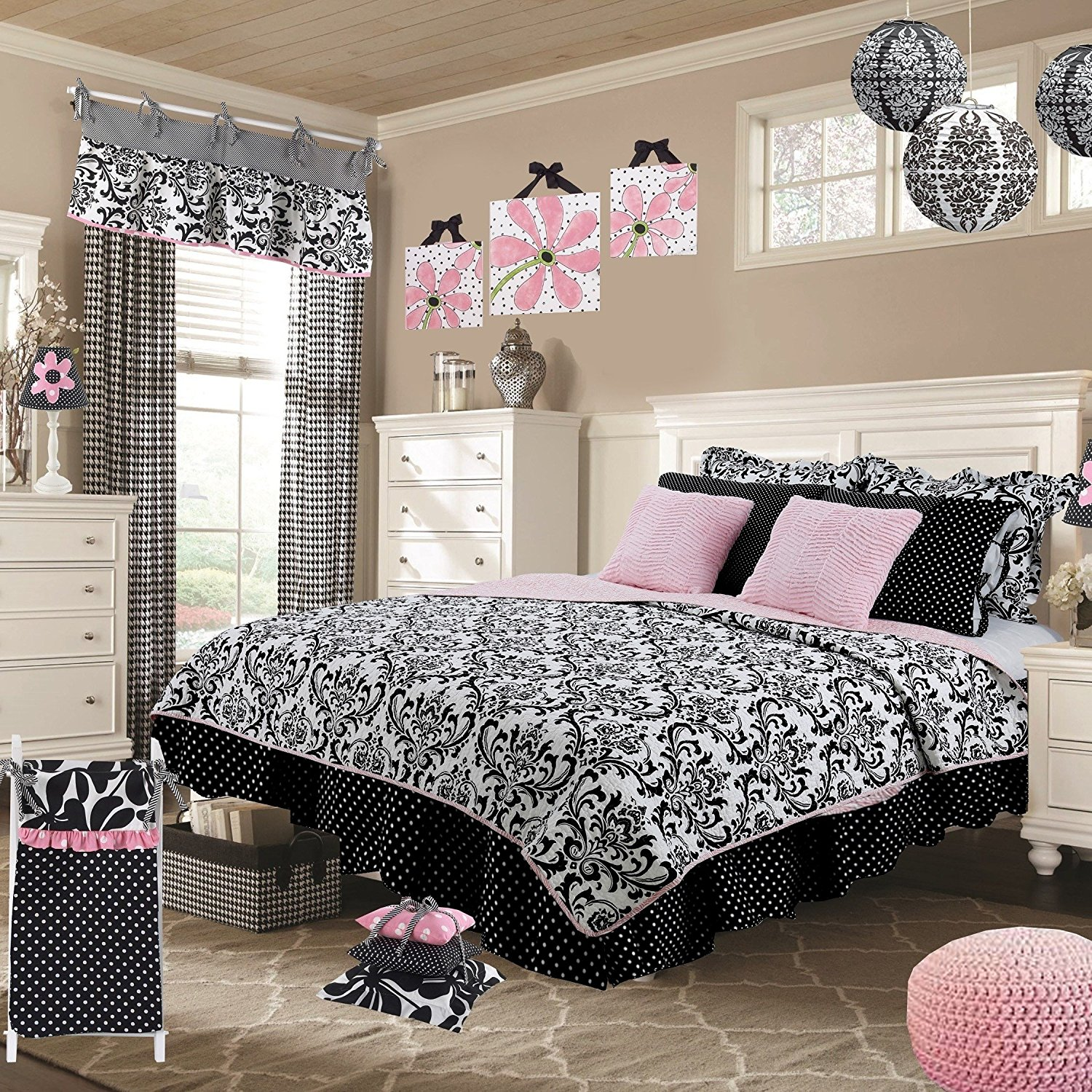 8 Piece Girly Black White Rich Damask Pattern QuiltFULL Size Set, Beautiful Boho Chic Polka Dots Print & Ruffled Design Deco Pillows, Solid Blush Reverse Bedding, Casual Fun Style, Soft & Cozy Cotton