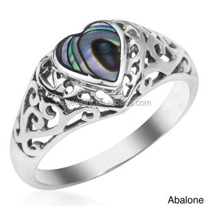 PES Fine Jewelry! True Devotion Stone Inlay Heart Abalone Paua Shell Unisex Women Ring (PES6-1741)