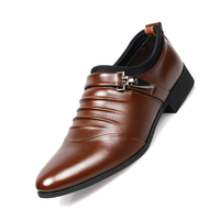 British style man shoe fashion pointed toe business men formal leather shoes