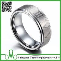 Men's Women's Silver Tungsten Carbide Engraved Roman Numerals Wedding Band Ring