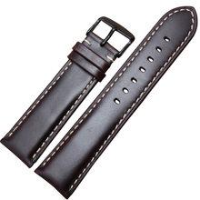 Ремешок для часов из натуральной кожи, черный, темно-коричневый, 18, 19, 20, 21, 22, 24 мм, с полированной пряжкой, Relojes Hombre(China)
