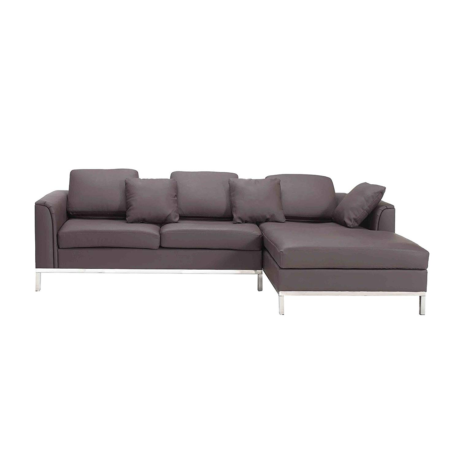 Beliani Modern Brown Leather Couch Sectional Sofa Left Facing Oslo