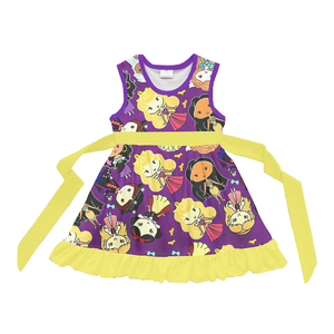2018 new style toddler floral print dress sleeveless baby girls princess dress