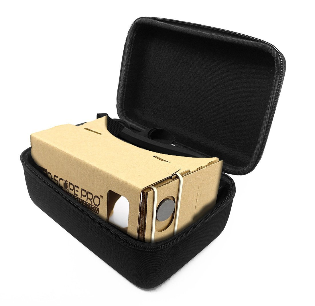 FitSand (TM) Carrying Portable Travel Protective Hard Case Cover Bag for Google Cardboard V2 D-scope Pro Virtual Reality 3D Glasses